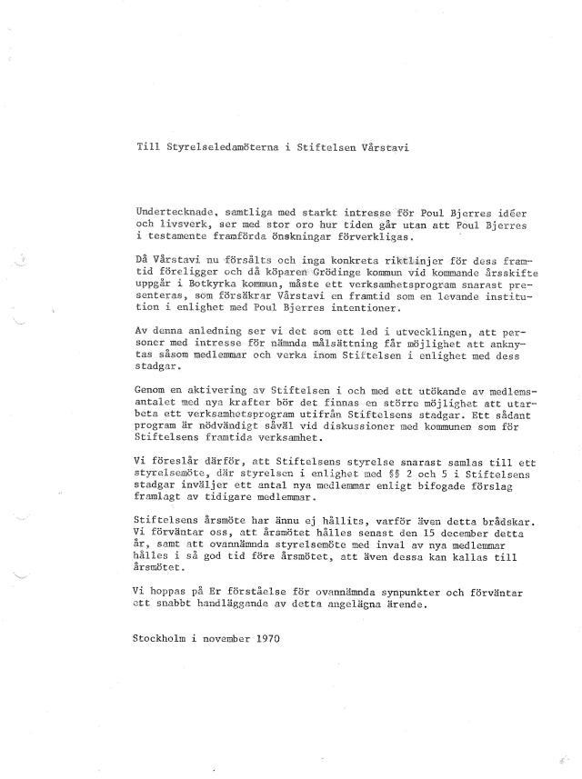 Skrivelse till Stiftelsen november 1970